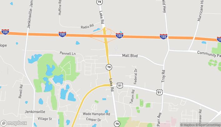 Mapa de 2500 Lake Rd en Dyersburg