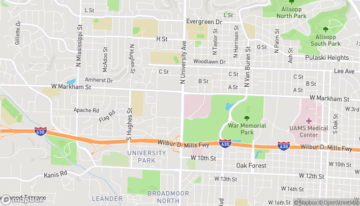 Map of 300 S University Ave in Little Rock