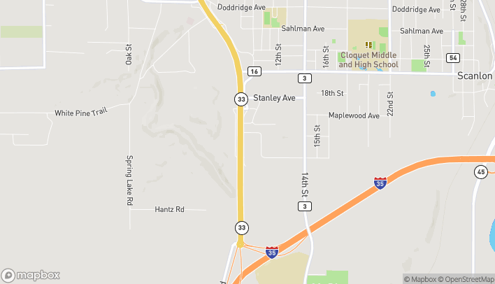 Map of 1498 Hwy. 33 South in Cloquet