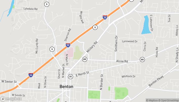 Mapa de 1201 Military Rd en Benton