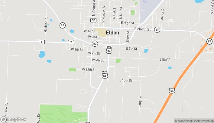 Mapa de 901 S Aurora St en Eldon