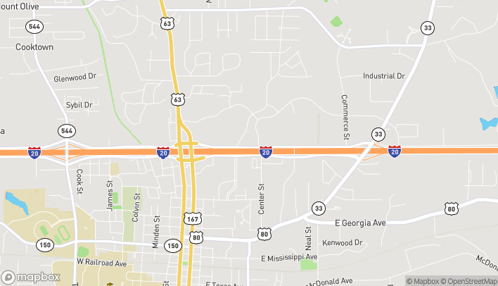 Map of 609 N. Service Road East in Ruston