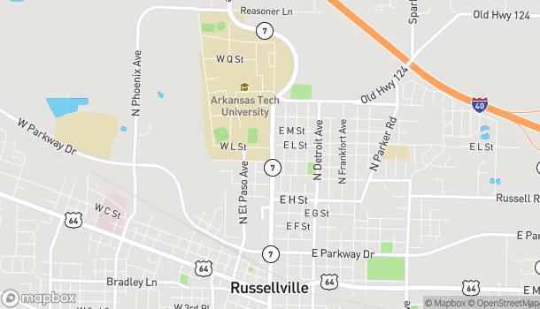Mapa de 1107 N. Arkansas en Russellville