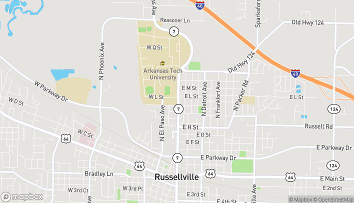 Map of 1107 N. Arkansas in Russellville