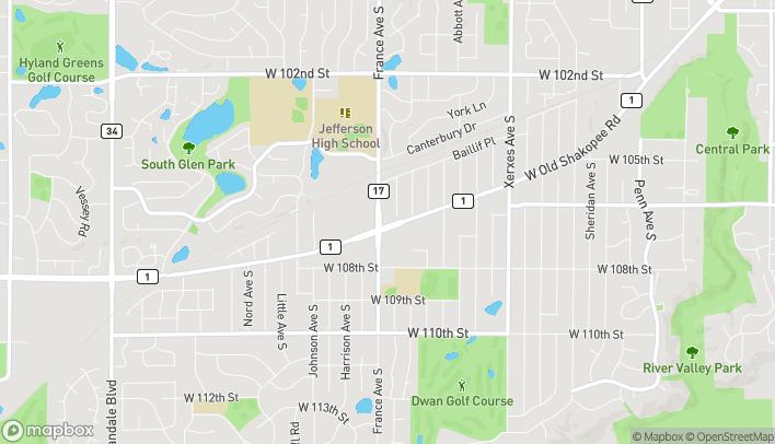 Mapa de 3826 W Old Shakopee Road en Bloomington