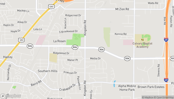 Map of 889 Bert Kouns Loop in Shreveport