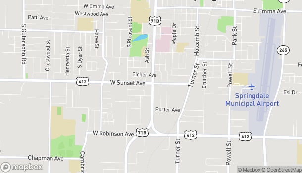 Map of 1100 South Thompson St in Springdale
