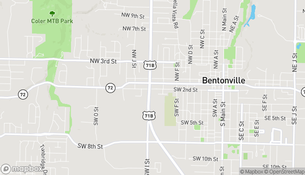 Map of 813 W Central Ave in Bentonville