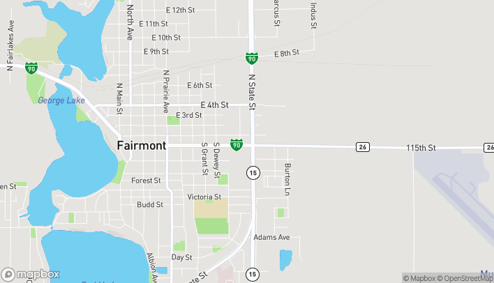 Map of 1023 E Blue Earth Ave in Fairmont