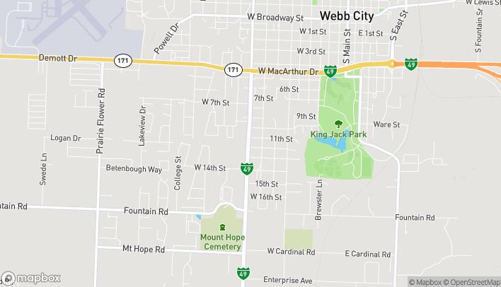 Mapa de 1119 S Madison St en Webb City