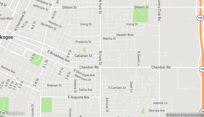 Map of 402 N. York St in Muskogee