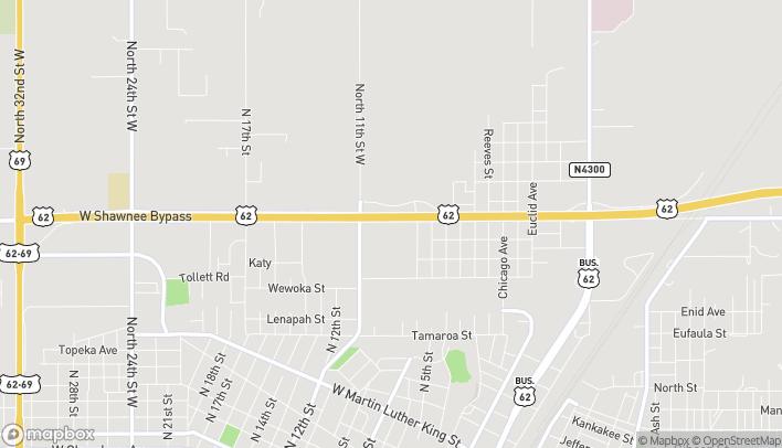 Map of 819 W Shawnee Bypass in Muskogee