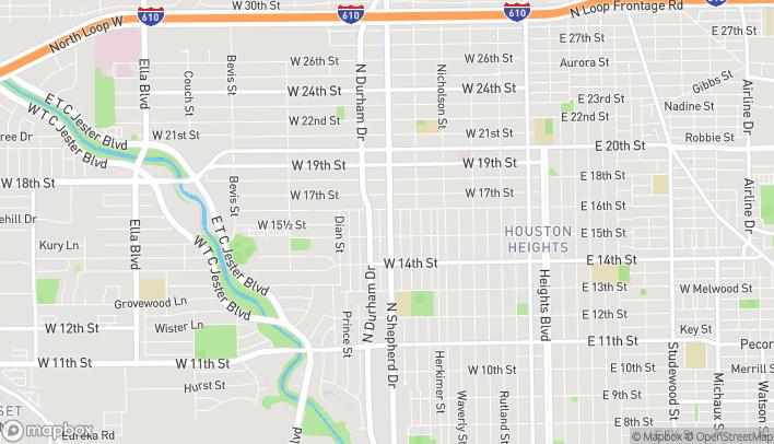 Map of 1533 N Shepherd Dr in Houston