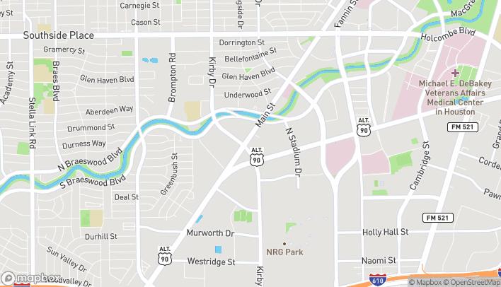 Map of 7811 Main Street in Houston