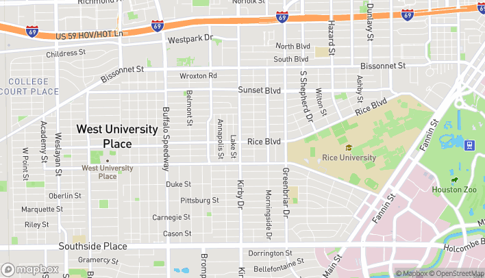 Map of 6027 Kirby Drive in Houston