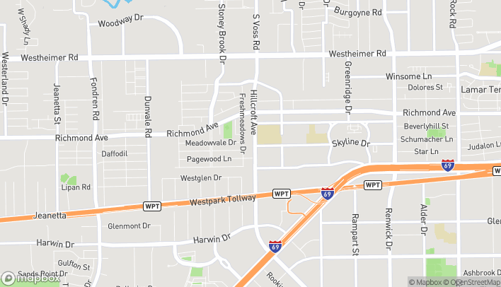 Map of 3330 Hillcroft St in Houston