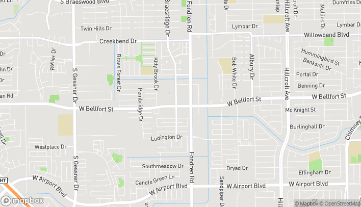 Map of 7560 W Bellfort Ave in Houston