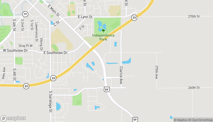 Map of 1201 East Main Street in Marshall