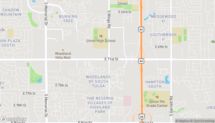 Map of 9616 E 71st Street in Tulsa