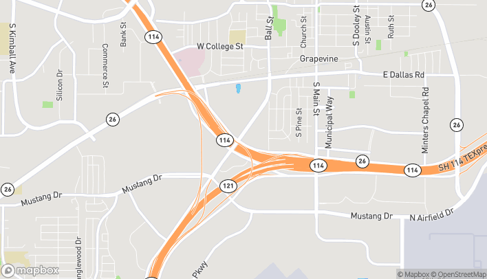 Map of 1401 William D Tate Ave in Grapevine