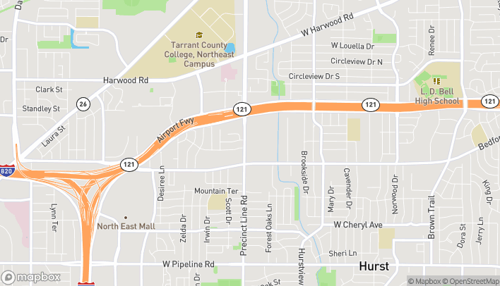 Map of 1332 Precinct Line Rd in Hurst