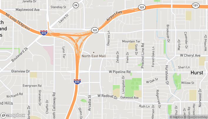 Map of 980 Melbourne Rd in Hurst