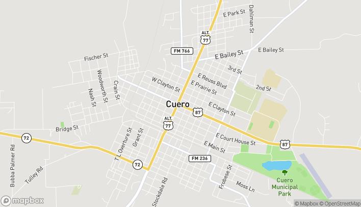 Mapa de 102 East Broadway en Cuero