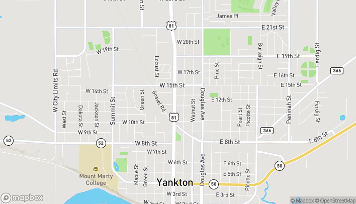 Map of 1100 Broadway Ave in Yankton