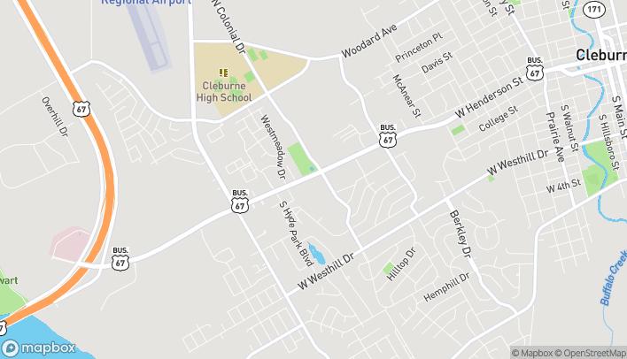 Mapa de 1623-A W Henderson St en Cleburne