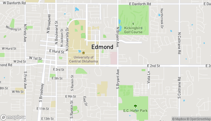 Map of 1255 East Second Street in Edmond
