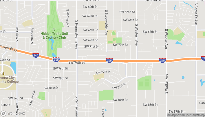 Map of 1413 W I 240 Service Rd in Oklahoma City