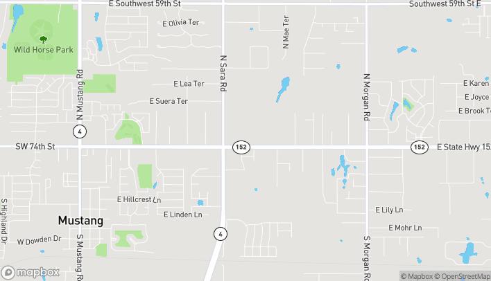 Map of 1001 East Hwy 152 in Mustang