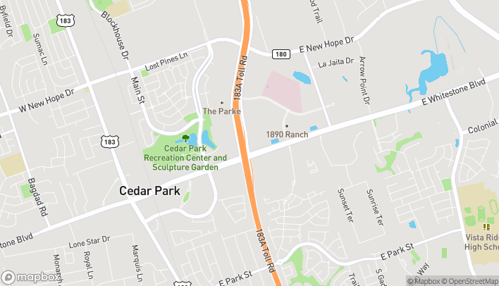 Mapa de 1335 E. Whitestone Blvd en Cedar Park