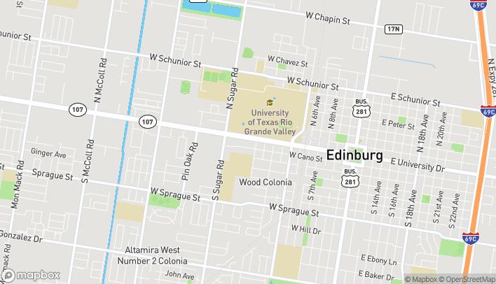 Mapa de 1334 West University Dr en Edinburg