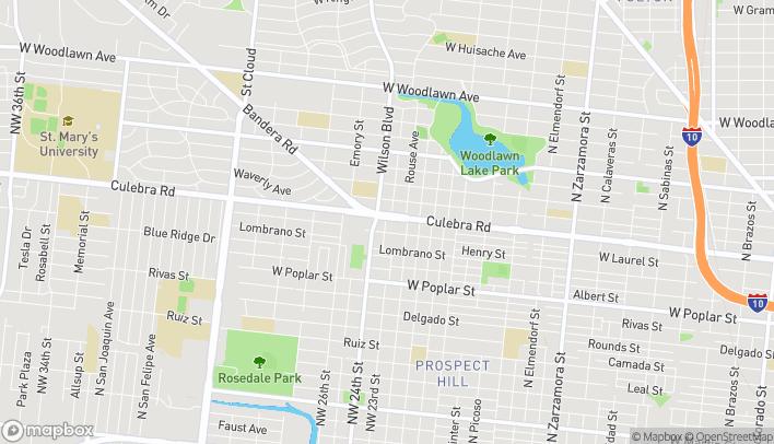 Mapa de 1922 Culebra Road en San Antonio