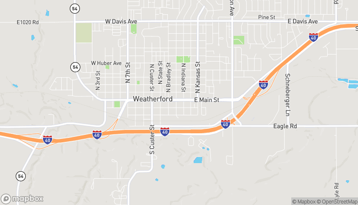Map of 406 E. Main Street in Weatherford