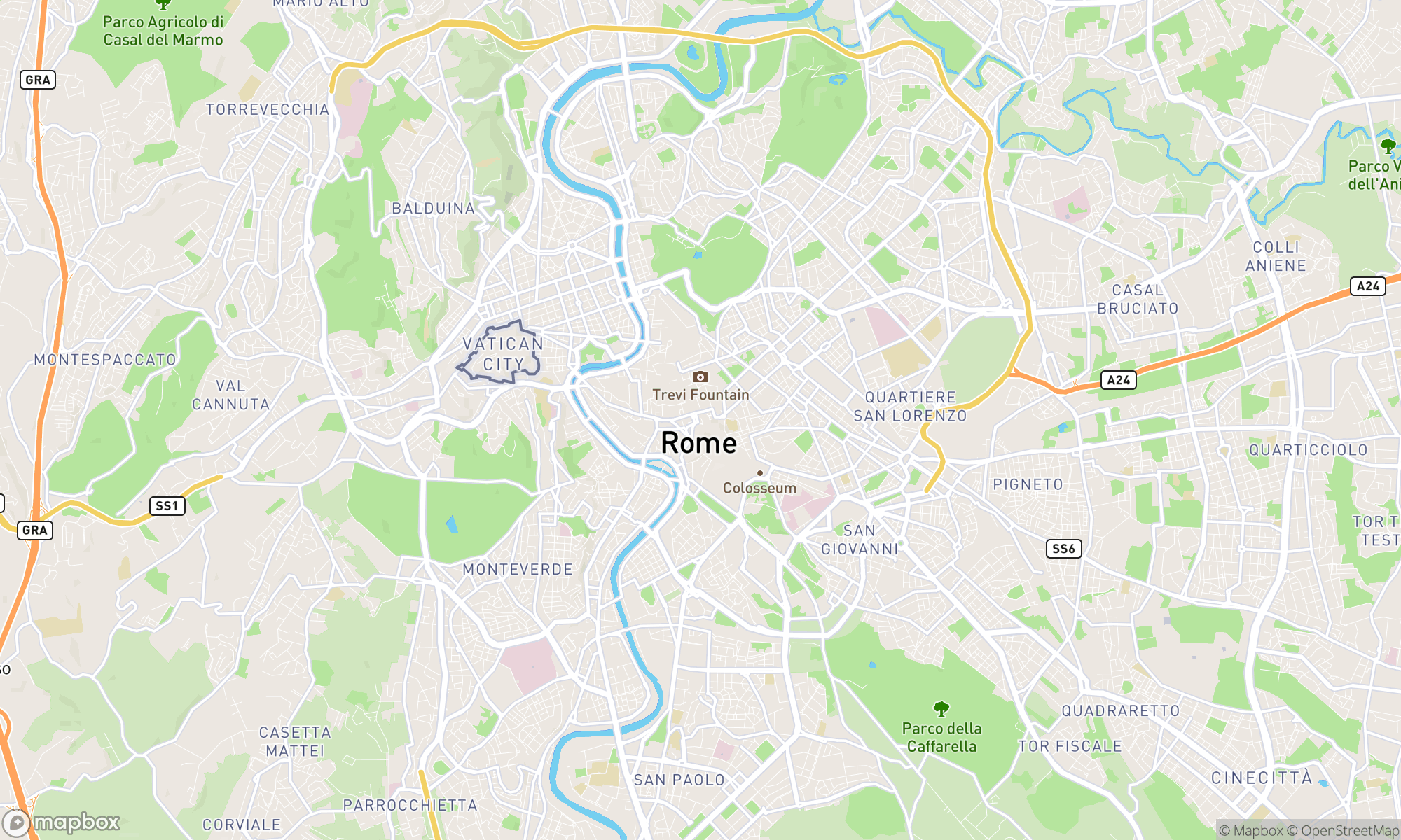 Map of Rome area