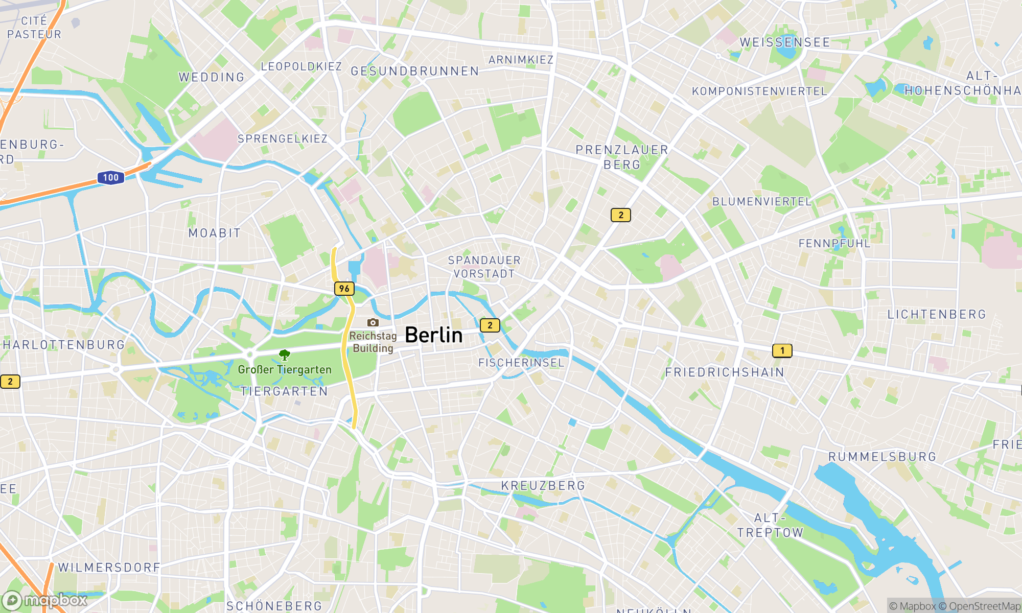 Map of Berlin area