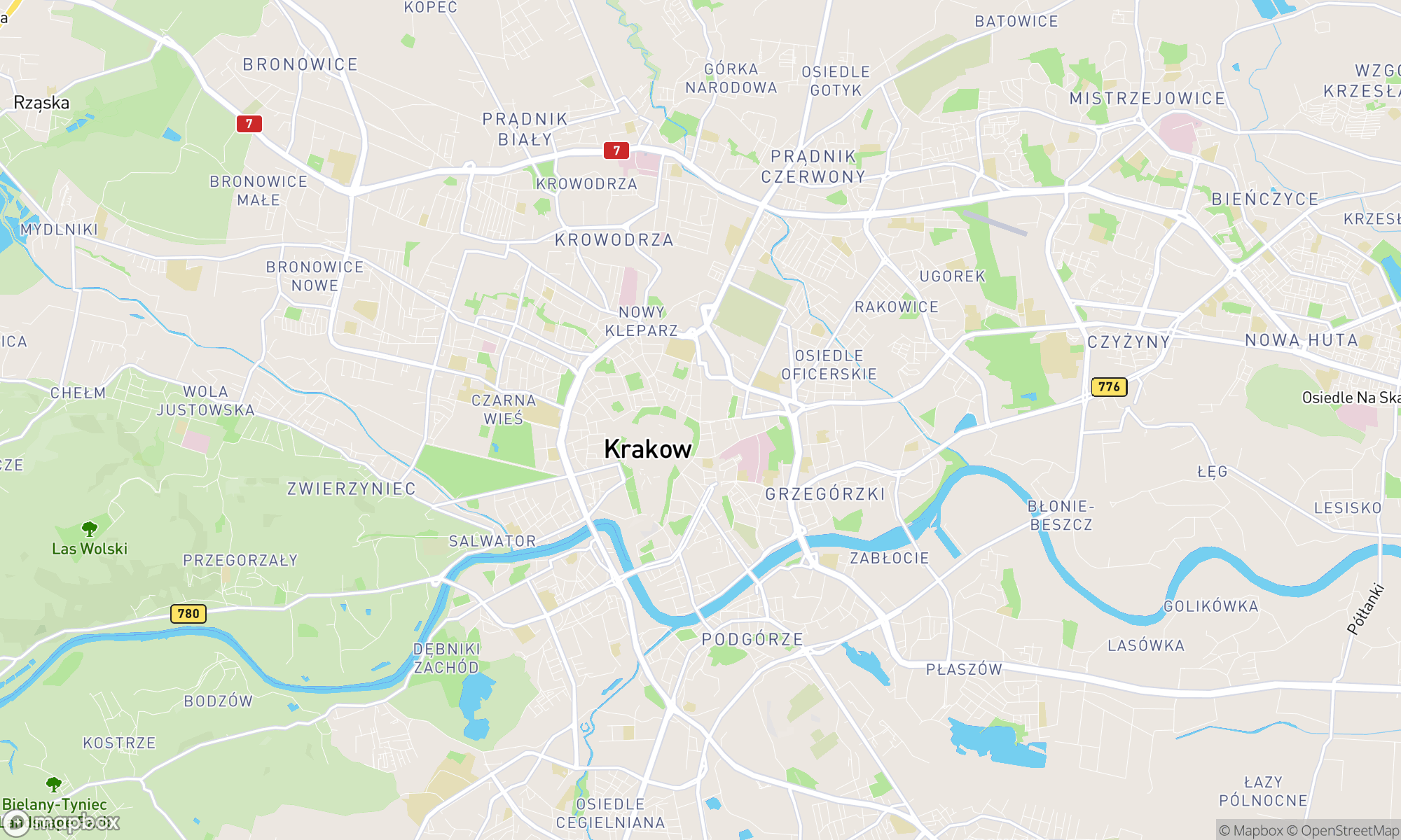 Map of Krakow area