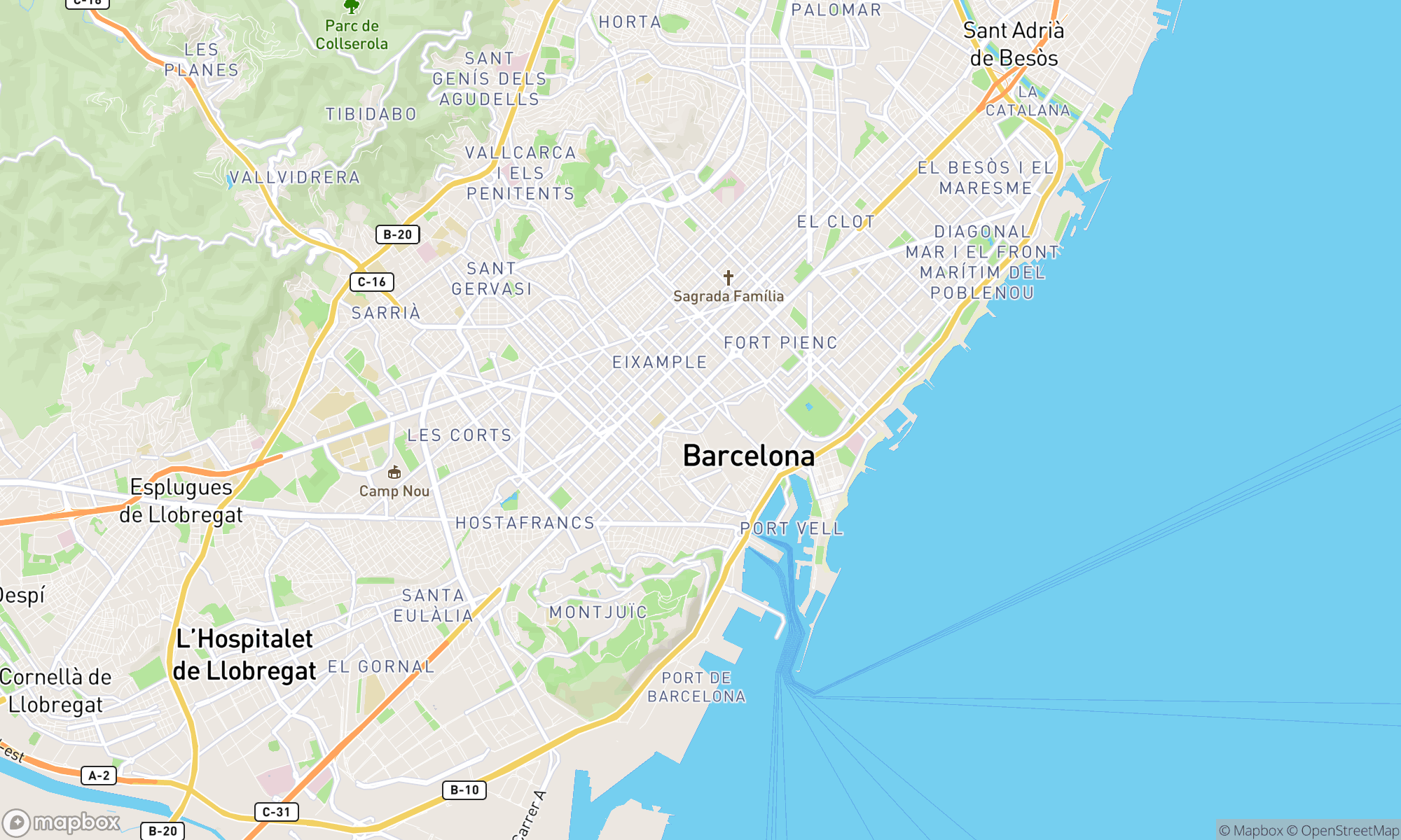 Map of Barcelona area