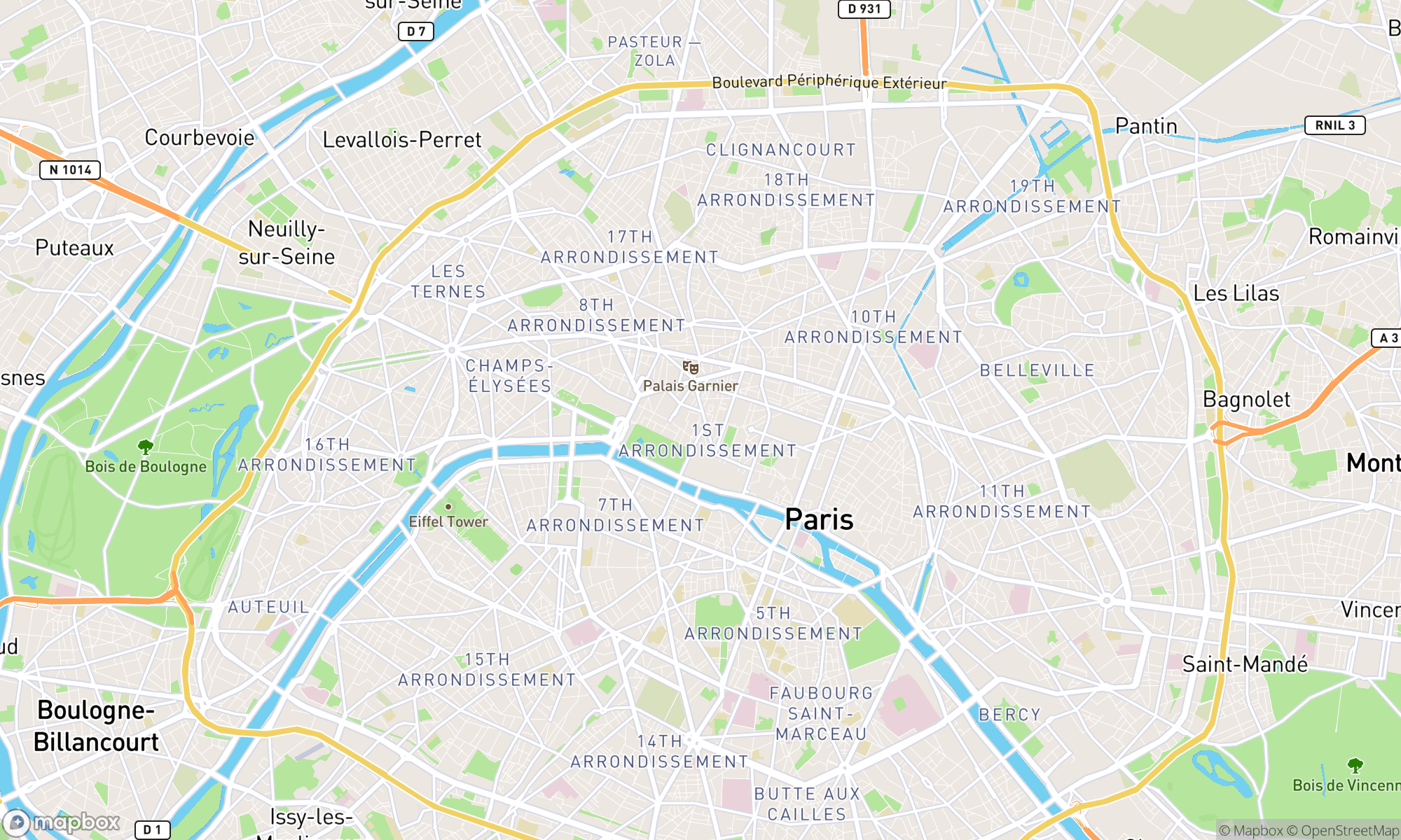 Map of Paris area