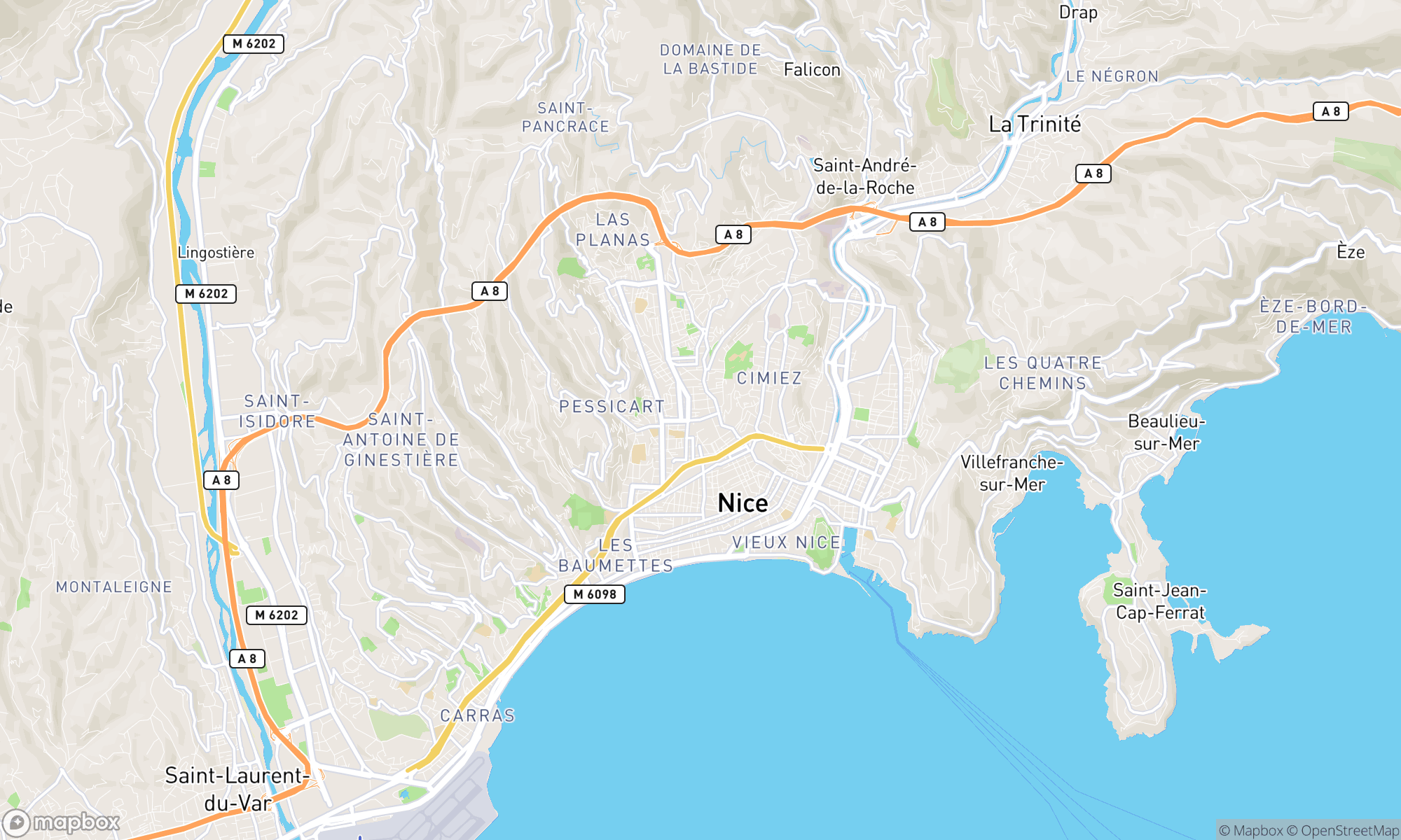 Map of Nice area