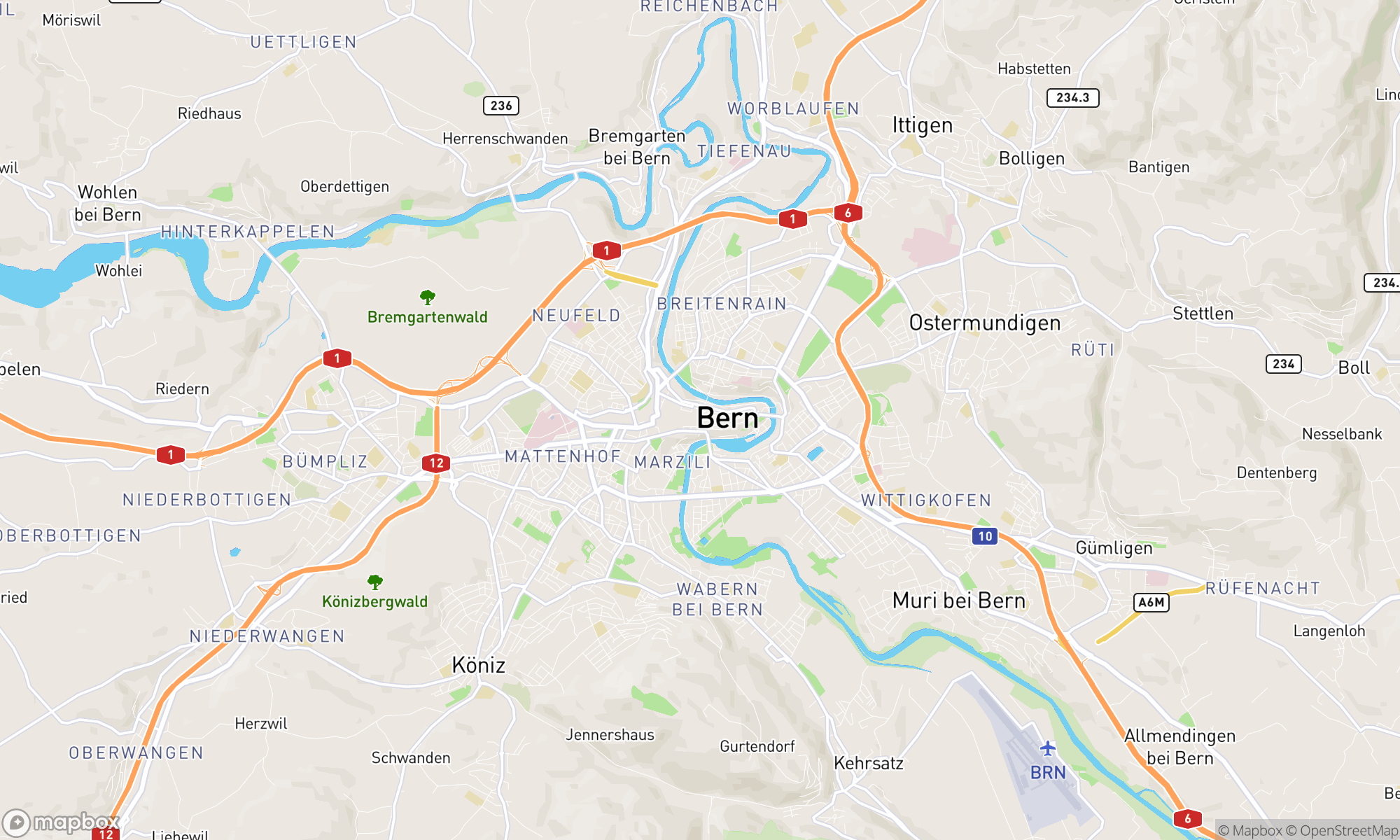 Map of Bern area