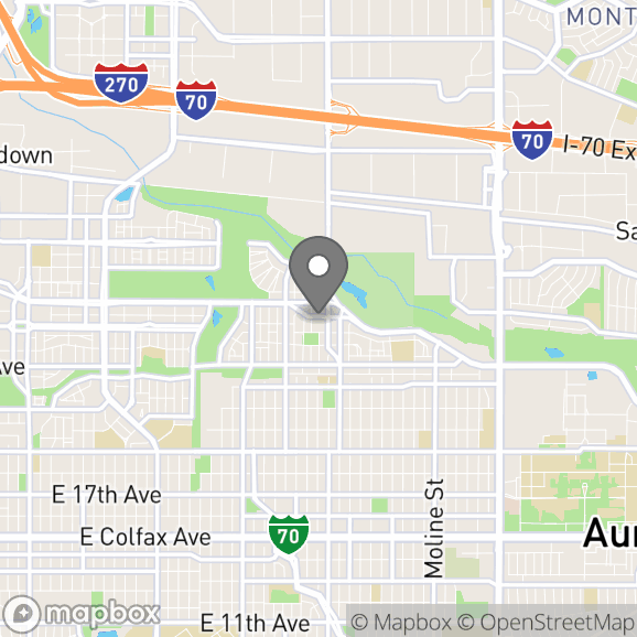 Map in Denver, Colorado for Brynn  Dyas therapy location.
