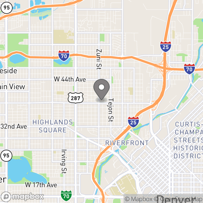 Map in Denver, Colorado for Mairead Jacobs Dougherty therapy location.