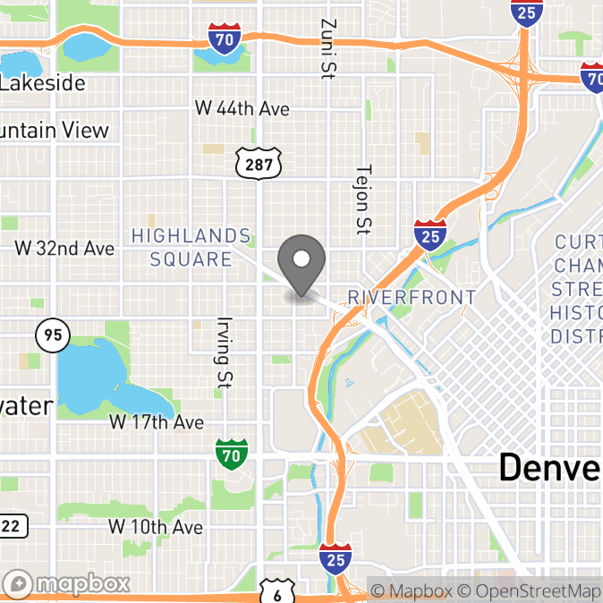 Map in Denver, Colorado for Sarah Rohr therapy location.