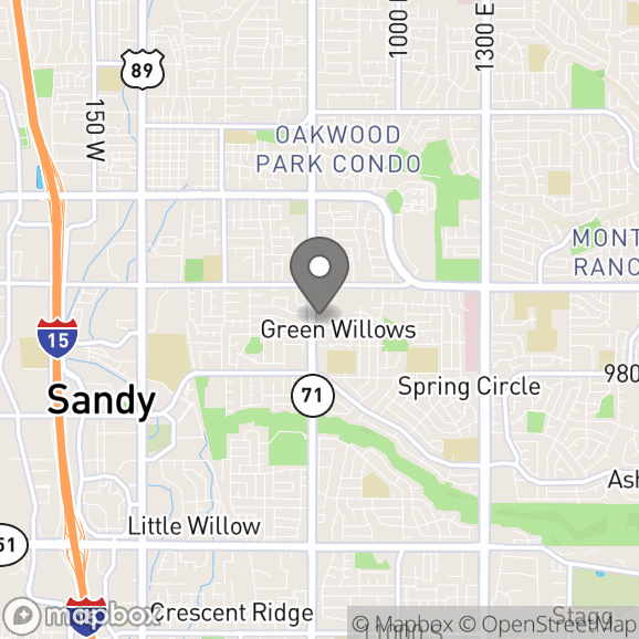 Map in Sandy, Utah for Colette Dalton therapy location.
