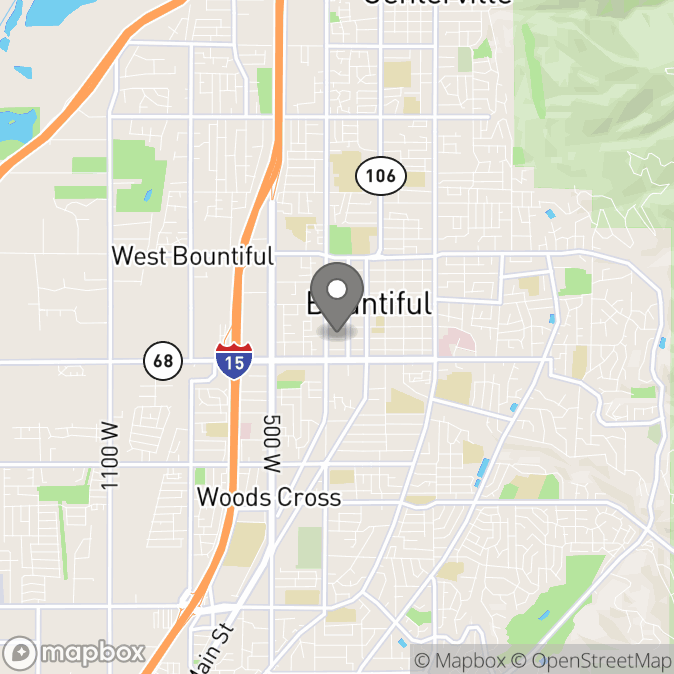 Map in Bountiful, Utah for Kelly Pickering, Anchored in Hope Therapy, LLC therapy location.