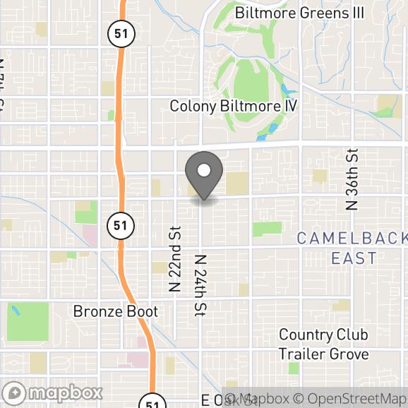 Map in Phoenix, Arizona for Katy Fielder therapy location.