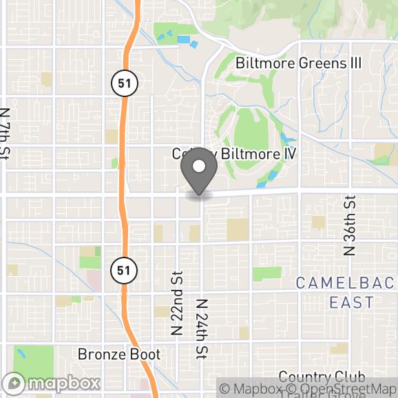 Map in Phoenix, Arizona for Alex Levitan therapy location.